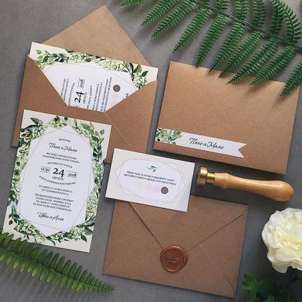 Свадебные приглашения в крафт-конверте