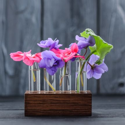 Миниатюрные вазочки-пробирки в деревянной подставке