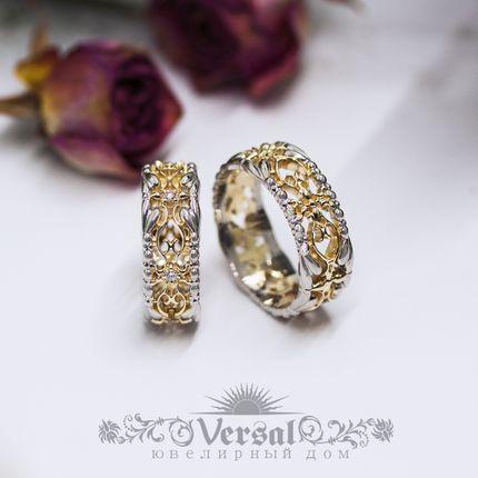 Парные обручальные кольца комбинированные