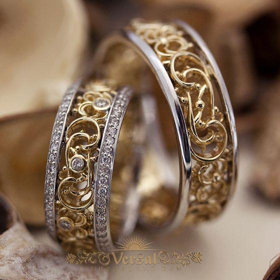 Парные обручальные кольца с бриллиантами