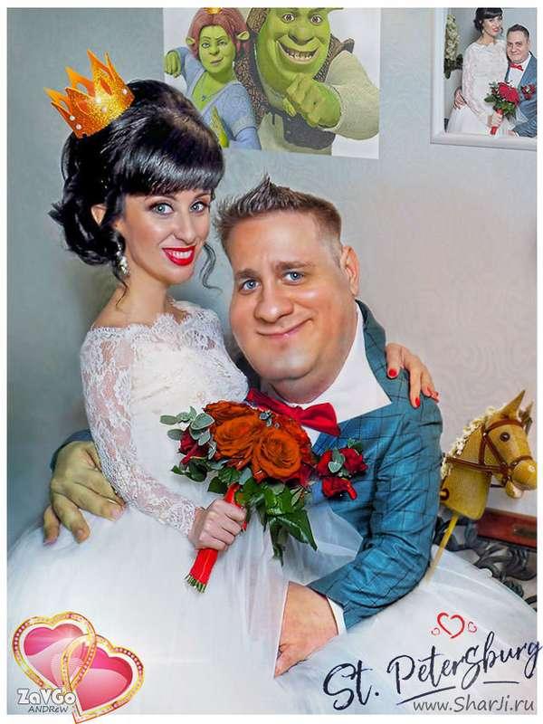 Шарж по фото. Свадьба Санкт-Петербург.  Шрек форевер. - фото 19879013 Alpha Studio - карикатурная обработка фото