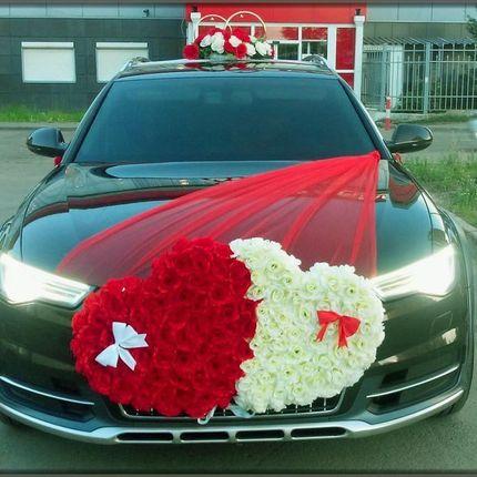 Комплект из красного и белого сердца для машины