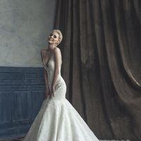 свадебное платье-модель 1034, кружевная рыбка, с лямками, отделка-камни, бисер