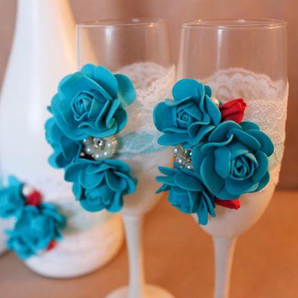 Свадебные фужеры в синем оттенке