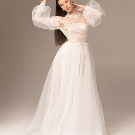 """Платье с пышными рукавами """"Фрейя"""" - розовый жемчуг"""