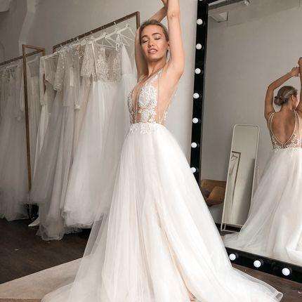 """Платье с V-образным вырезом """"Лилиан"""" белое"""