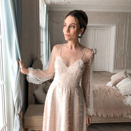 """Платье """"Перл"""" бежевое"""