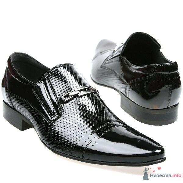 Черные мужские модельные  кожаные туфли с острым носком и пряжкой - фото 66886 Kwinto-shoes - cвадебная обувь