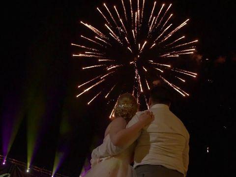 Огненная открытка и фейерверк на свадьбу